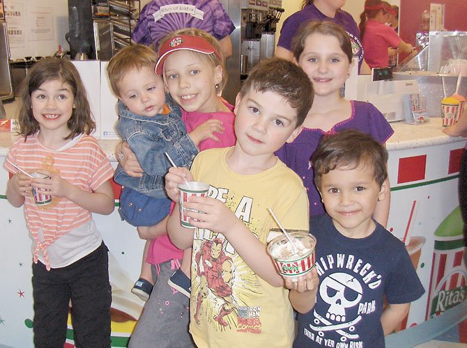 Having fun together at Rita's are (from left) Tessa Topscher, 7; Will Barnhart, 2; Tara Sankner, 8; Zach Topscher, 6; brain-cancer survivor Madeleine Baet, 9 and Dorian Baet, 6.