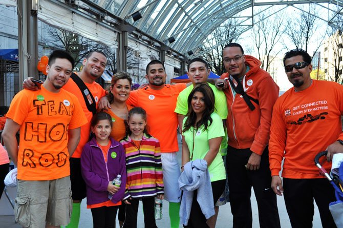 The Gerald Ramirez team from Springfield area included (from left): Evan Guerrero, Gladys Reyes, Soukayna Oukhouya, (all from Springfield), Timothy Siridavong and Warren Simmons of Lorton, young girls Savana Rushing and Layla Ramirez, Rose Ramirez (behind two girls), Diego Gonzales and Gerard Ramirez (far right), all of Springfield.