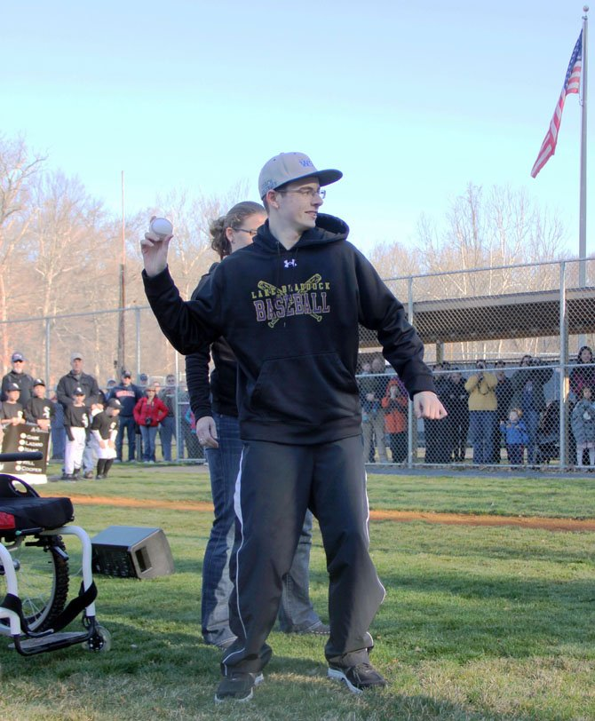 Nick Balenger throws out the first pitch during West Springfield Little League's Opening Day Ceremony on Saturday, April 6, in front of 750 fans.