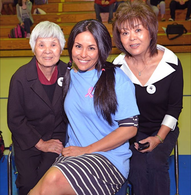 Before, from left: Grandmother Mieko Oliver, Robinson Drama teacher Amy Hand, and her mother June Hand of Springfield pose for a pre-cut family portrait. Amy Hand made the decision to add her hair to the Acts of Kindness for cancer patients in honor of her grandmother, a survivor of recent cancer.
