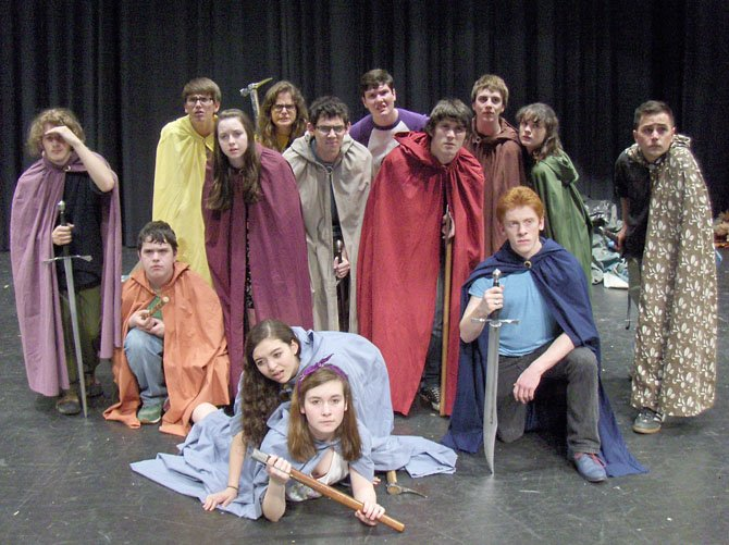 "Scared and hungry, the dwarves notice that the trolls have food in this rehearsal scene of Woodson High's ""The Hobbit."""
