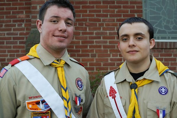 Cody Jones and Addison Speer, two new Eagle Scouts of Troop 673, sponsored by the United Methodist Men. The troop is over 50 years old and has produced over one hundred Eagle Scouts.