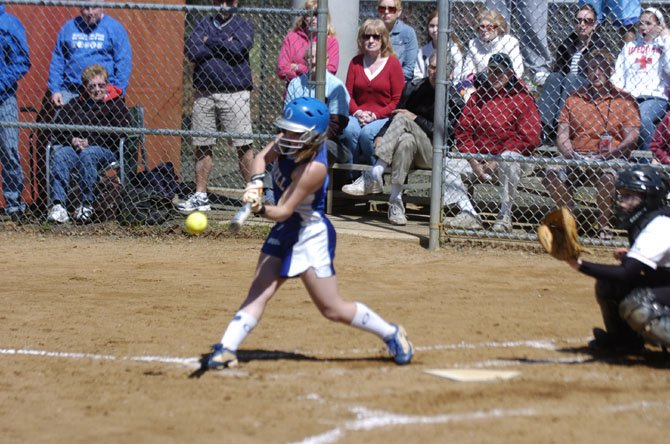 Bishop O'Connell center fielder Mary Burk delivered a game-tying RBI double in the seventh inning against McLean on April 20.