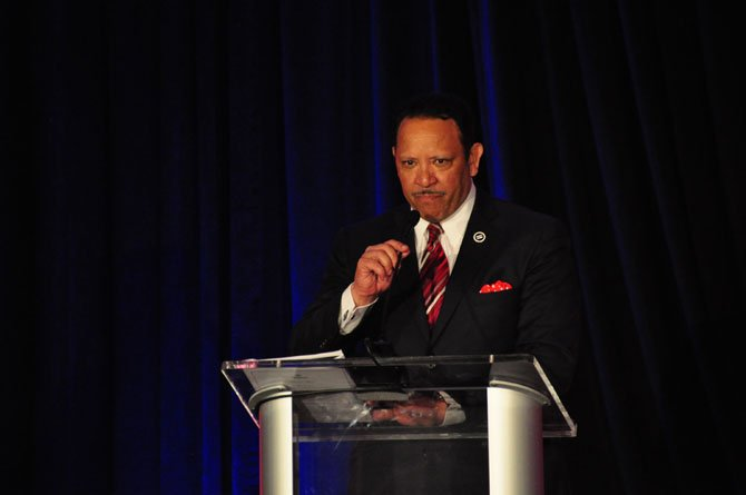 Marc Morial, president and CEO of the National Urban League, speaks at the Northern Virginia Urban League's annual Community Service and Scholarship Awards dinner Friday, April 19.