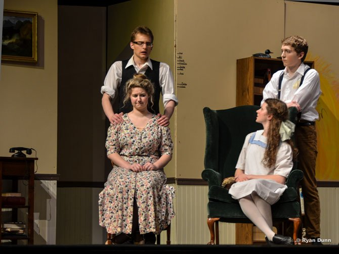 "Standing, from left, Chris Hrozencik, Hunter Robinson;   seated, Cassie Sezymezk and Sarah Overton in Herndon High's production of ""Cheaper By The Dozen."""