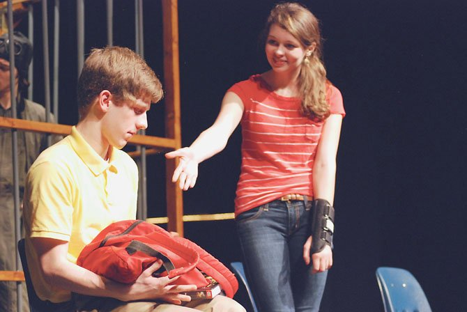 "Lily, a high school teenager (played by sophomore Bonnie McClellan) reaches out to Austin, an autistic peer (sophomore William Shipley) in West Springfield High School's production of ""The Other Room,"" by Ariadne Blayde. The play won the State VHSL One-Act Drama Title for 2013."