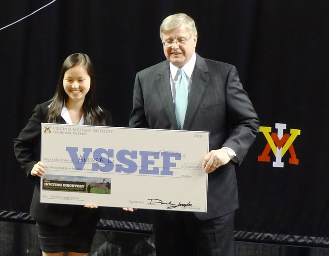 Virginia Secretary of Technology James D. Duffey presented Vienna student Andrea Shao-yin Li the Governor's Award and Grand Prize First Place at the 28th Annual Virginia State Science and Engineering Fair held April 6 at Virginia Military Academy in Lexington.