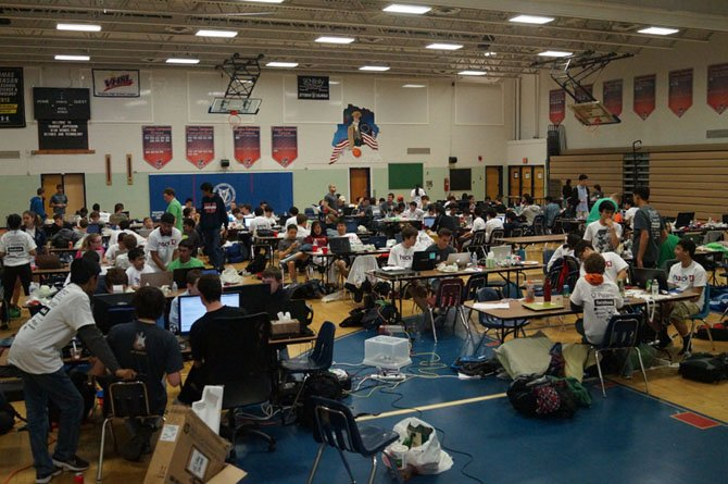 The TJ Hackathon took place in the TJHSST gymnasium April 26-27. Teams of students came together for a 24-hour marathon of computer coding and programming to create products which they would reveal in demos to the other participants and mentors from companies such as Facebook and Palantir.