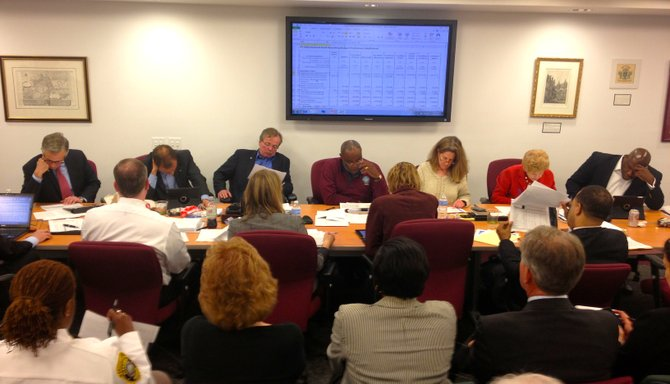 City Council members review potential changes to the city manager's proposed budget Monday night at City Hall.