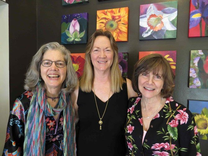 "The three artists in the show ""Blooming"" at the Art Gallery of Potomac are (from left) Dot Proctor, Karul Lasher and Ruth Marcus."