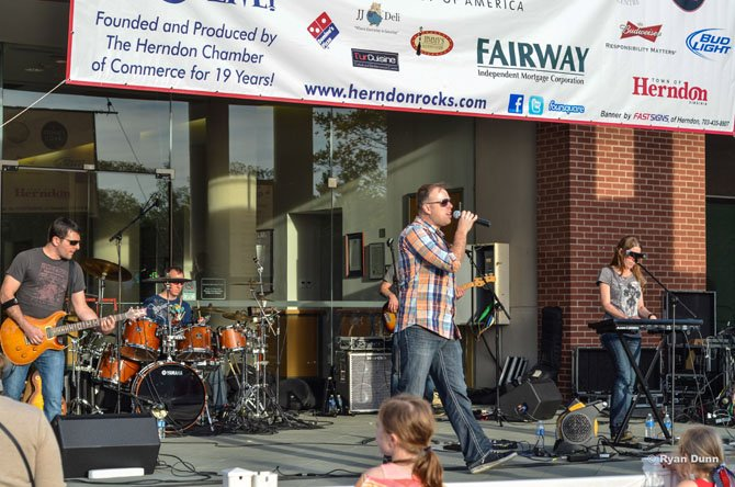 The band Gonzo's Nose performs at the Herndon Friday Night Live Concert.