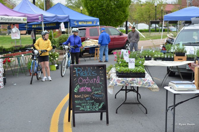 Vendors set up tables and stands along Station Street in the Town of Herndon for the Thursday farmers market.