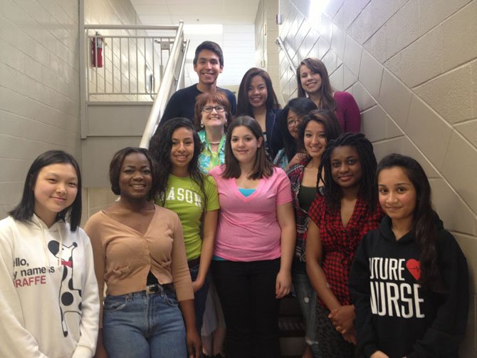 Jacqueline Portnoy with her first year students at The Plum Center for Lifelong Learning in Springfield.