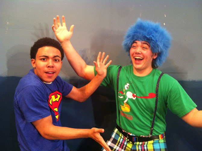 "Diego Encarnacion (Aidan) and Jared Shields (Ralph) in Chantilly's children's play, ""Imagine If."""