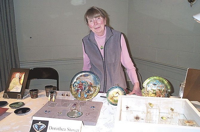 Dorothea Stover of Arlington, enamellist, at the April 19 art show.