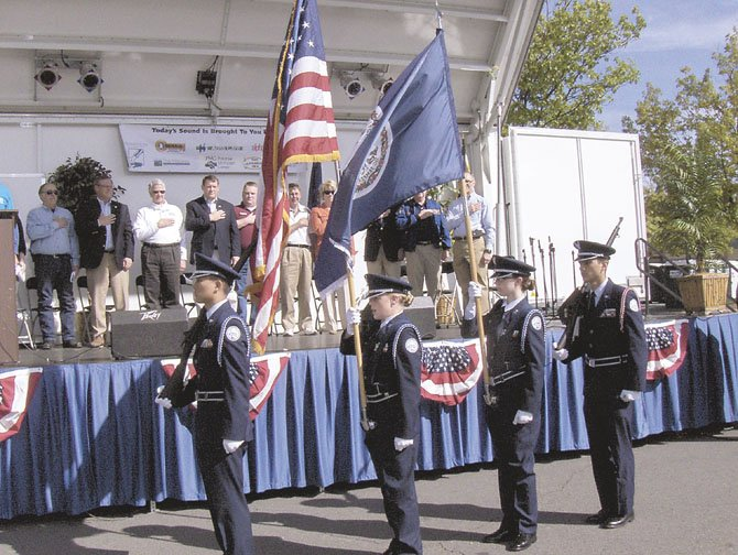 The Chantilly Academy's AFJROTC presents the colors at the opening ceremonies.
