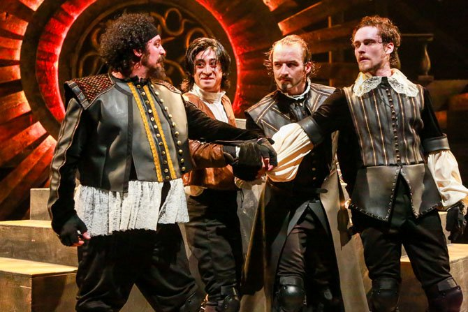 The Musketeers and D'Artagnan: Hector Reynoso as Porthos, Dallas Tolentino as D'Artagnan, Ben Cunis as Athos and Matthew Ward as Aramis.