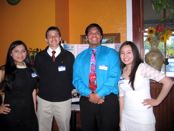 "From left, scholarship recipients Ana Gloribel Pereira Mejia, Nicolas Polo Sánchez, Juan Guevara and Melanie Aguilar Rojas have worked hard to achieve ""firsts"" for their families in America."