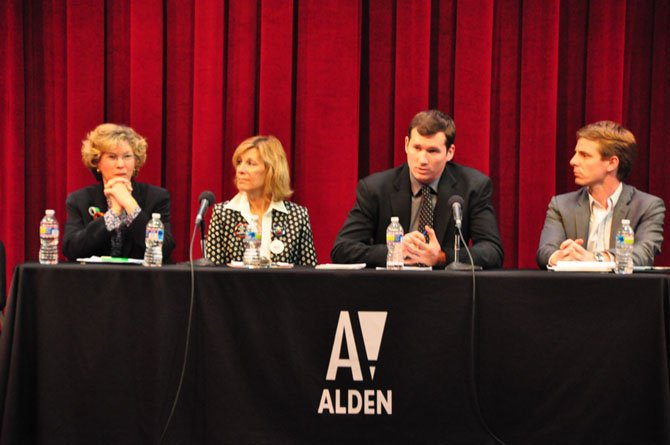 From left, Karen Marangi of Mayors Against Illegal Guns, Martina Leinz, president of the Northern Virginia Chapter of the Million Mom March, Colin Goddard, assistant director of the Brady Center and survivor of the Virginia Tech shooting, and Peter Ambler, former legislative aide to former Congresswoman Gabrielle Giffords and strategic director of Americans for Responsible Solutions, speak at the Alden Theatre Monday, May 8.