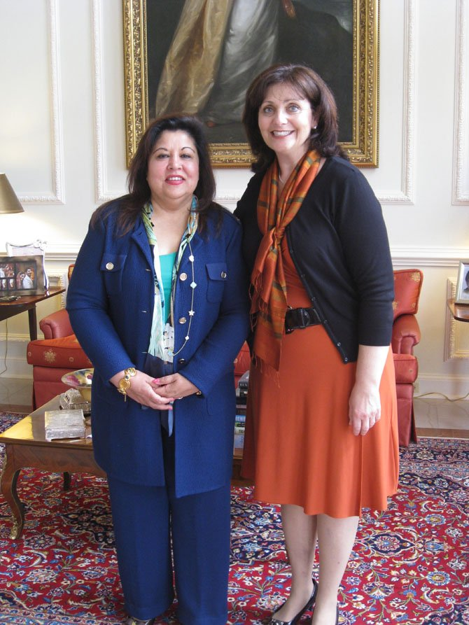 Hostess Shaista Mahmood (left) with Dr. Rachel Brem.