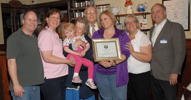 Dave Bettwy's family was very proud of his award: (From left) Eric and Lynn Barnes (daughter), granddaughter Megan Barnes with Dave's wife, Josephine, Dave and daughters Gwen Bettwy and Lynn Buck with son-in-law Rodney Buck.