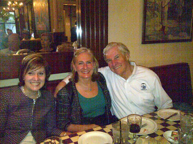 Board members and others enjoyed dinner at HBC Community Charity Champions event at Pulcinella Italian Host in McLean on May 14, which raised $1,662.50 for Lift Me Up! in Great Falls. From left: Maggie Johnston, Paula Michaels and Bob Best.