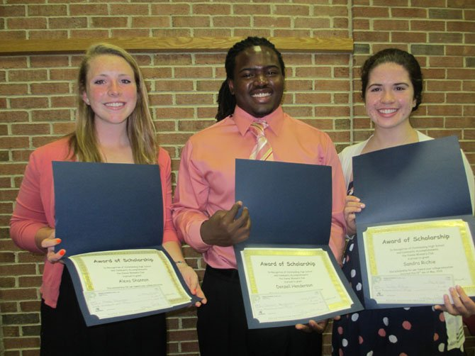 The Vienna Woman's Club awarded $1,000 scholarships to three James Madison High School seniors, Alexa Shannon, Denzell Henderson and Sandra Richie.