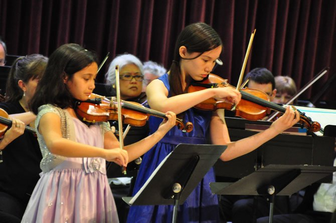 From left, Grace McKay, 10 and Sarah Slate, 12, perform as soloists with the Reston Community Orchestra Sunday, May 19.
