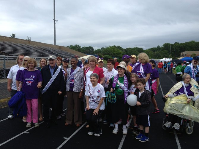 All the survivors present at Relay for Life.