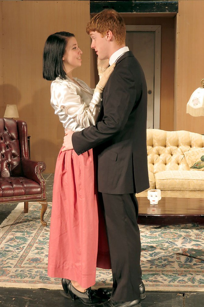 Stephanie Feeback (as Alice) and Matt Calvert (as Tony) in a tender moment from the play.