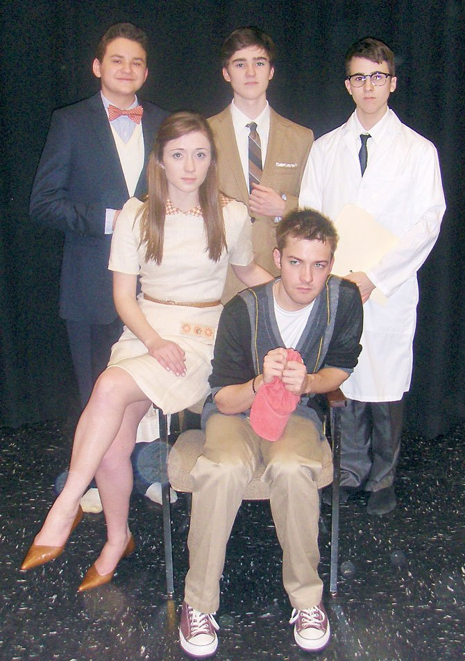 "In character for Westfield's ""Flowers for Algernon"" are (back row, from left) Alex Mann and brothers Brandon and Julian Sanchez and (front, from left) Madeleine Bloxam and Mitchell Buckley."