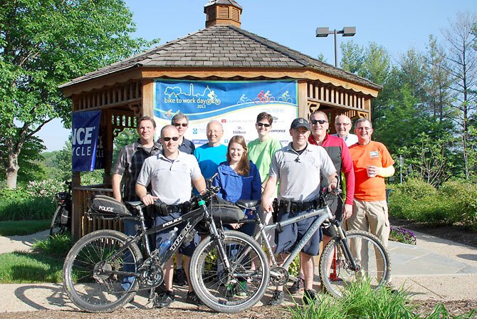 (From left) John Keenan, manager, Hayfield and Performance Bicycle Springfield; Christian Dizon of Alexandria and the Fairfax County Police Department; Rich Dorko of Burke and Performance Bicycle; Henry Hoyle of West Springfield; Claire Coscia of Washington, D.C. and Metro Park; Nancy-jo Manney of West Springfield; Marques Lowery of Fredericksburg and Fairfax County Police Department; Mike Bauer of Falls Church; Jack Mutarelli of Lake Ridge and Calibre; and Paul Kent of Chantilly and Fairfax Advocates for Better Bicycling.