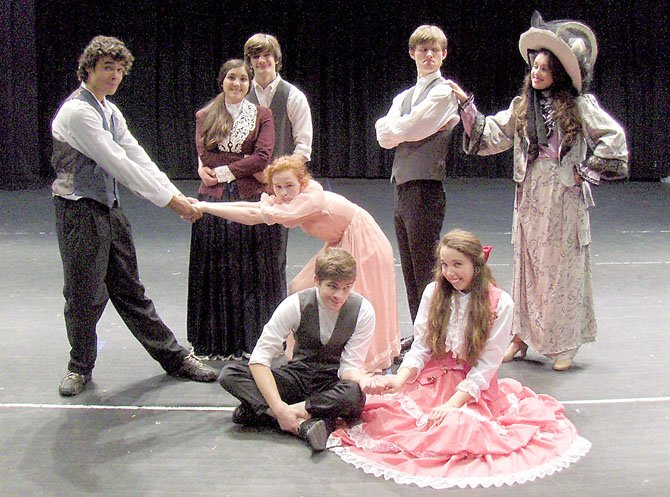 "Posing in character are (back row) from left Marissa Kovach, Will Park, Doug Klain and Alex Nicopoulos; (middle) Jo Coenen and Amanda Harvey; and (front) Derek Yost and Margaret Murphy in Fairfax High's ""Hello, Dolly."""