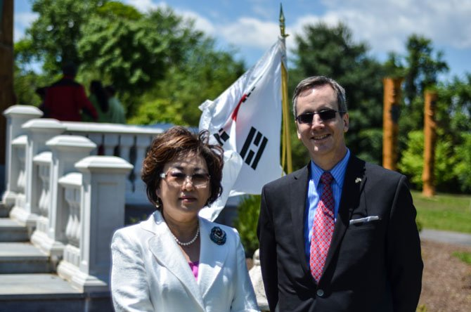 Executive Director of the Northern Virginia Regional Park Authority Paul Gilbert and President of the Korean American Cultural Committee Jeung Hwa Elmejjad-Yi.
