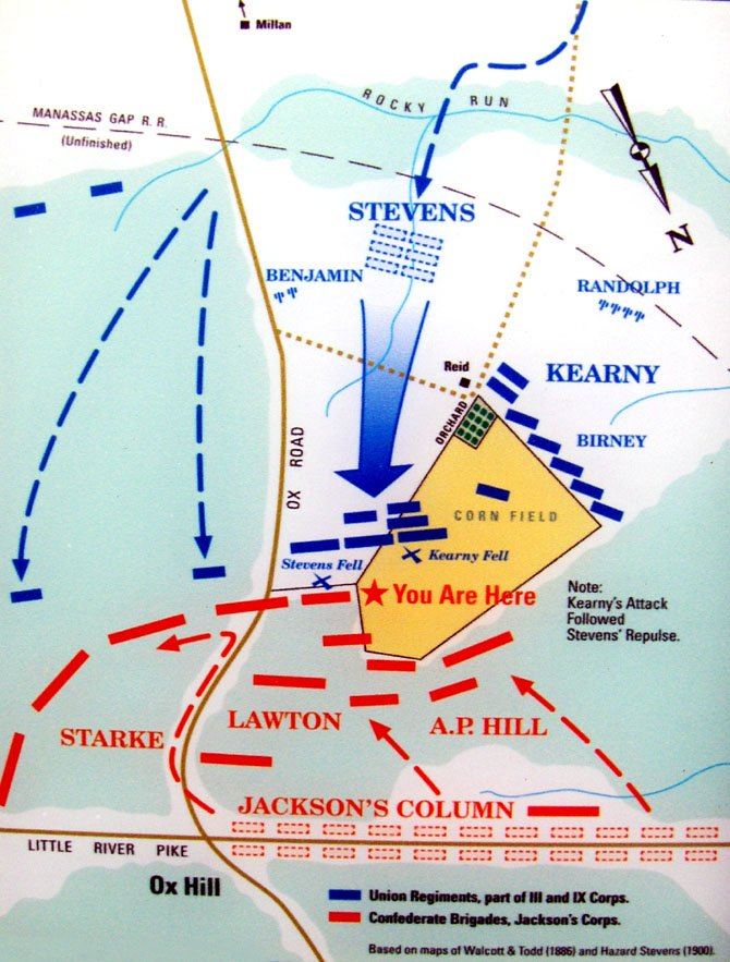 A map of the Battle of Ox Hill. Union generals' names are in blue; Confederate generals, in red.