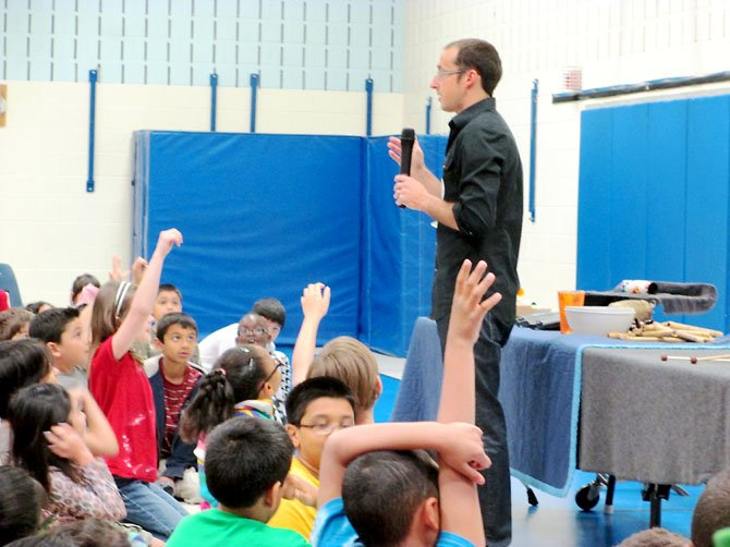 "Cory Hills returned to his Springfield elementary school, Newington Forest, to perform ""The Percussive Art of Storytelling,"" his popular, interactive and high-energy concert."