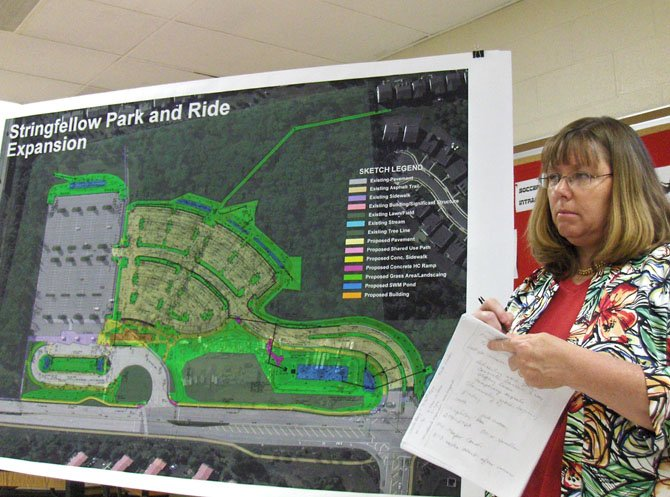 Fairfax County employee Roxanne Tomlinson discusses the Stringfellow Road park-and-ride expansion project.