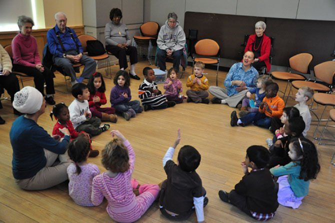The Herndon Senior Center welcomes students from the Montessori Peace School for a sing-along.