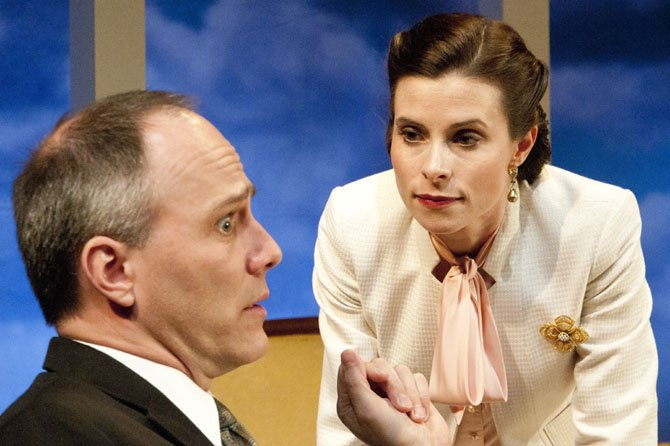 "Steven Carpenter as Charles and Liz Mamana as Ruth in the 1st Stage production of Noel Coward's ""Blithe Spirit."""