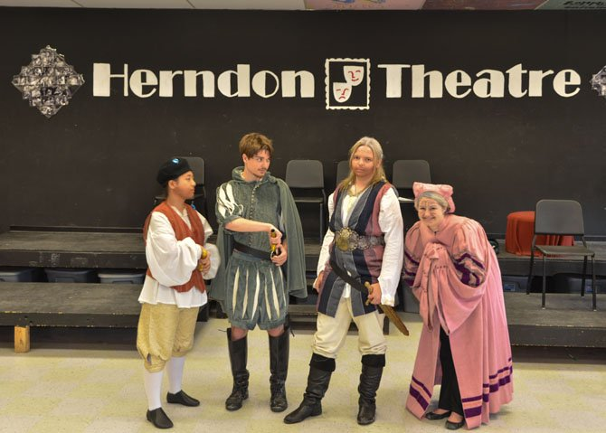From left, Herndon High cast Jean Jeon, Jacob Snellbaker, Veronica McGrath and Cassie Copeland.