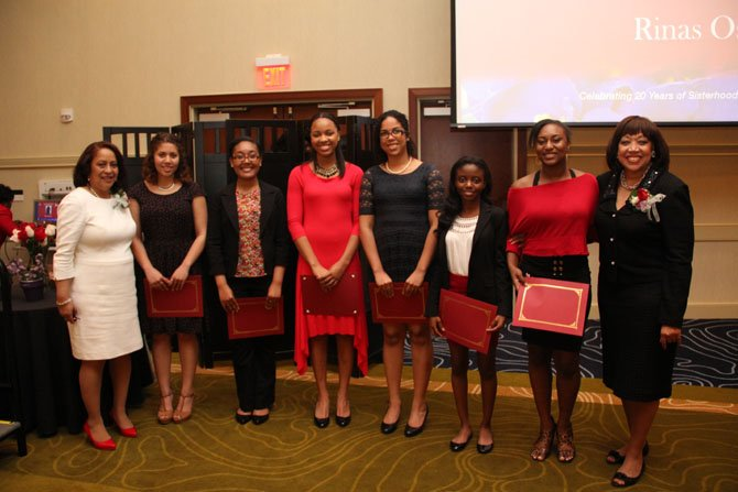From left—Regina Milteer-Rock (president, FCAC) with scholarship recipients Hayley Harris (Centreville High School), Kiana Harper (Robert E. Lee High School), Selena Townes (South County Secondary School), Niara Lezama (Thomas Jefferson High School for Science and Technology), Rebecka Haynes (Herndon High School), Gabriela Akinbileje (South Lakes High School), Margot Copeland (guest speaker). Not pictured: Rinas Osman (Hayfield Secondary School).