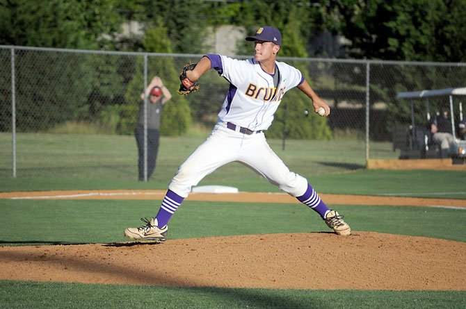 Lake Braddock senior Thomas Rogers threw a season-high 91 pitches against Patriot on Tuesday night, June 4, in the quarterfinals of the Virginia AAA state baseball tournament.