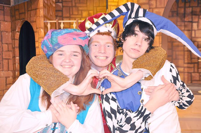 "(From left) the minstrel (Taylor Kiechlin), king (Brendan McAlevy) and jester (Jacob Rozmajzl) are a happy trio in ""Once Upon a Mattress."""