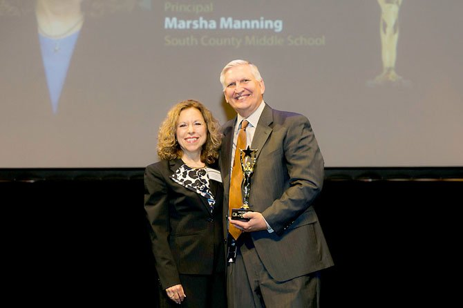 Marsha Manning, principal at South County Middle School, with FCPS Deputy Superintendent Richard Moniuszko.