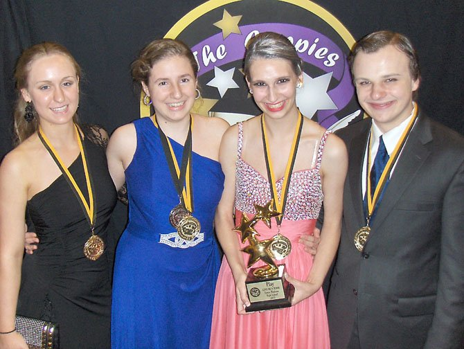 "Best Play: ""Lend Me a Tenor,"" James Madison High School, (from left): Anna Voyles, Allison Brandmark, Emily Wade and Matthew Lansdell."