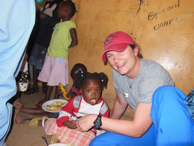 Kiley Scott with children in Kenya.