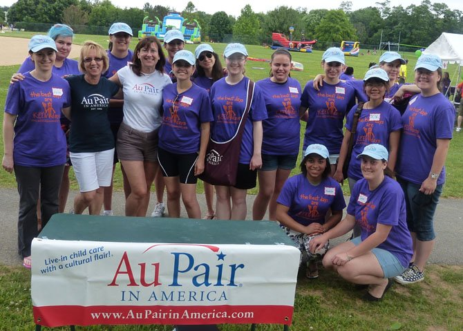 Members of Au Pair of America with participants at the KEEN Sports Day.