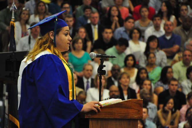 Nicole Rappaport, South Lakes High School Class of 2013 president, addresses the student body during graduation Friday, June 14.
