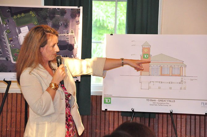 Attorney Lori Murphy discusses plans for the proposed TD Bank in Great Falls Tuesday, June 11.