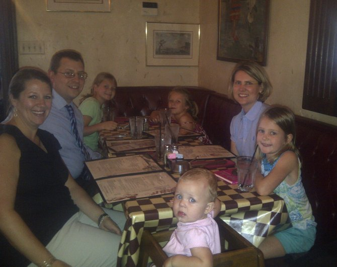 Vorndran and Loving families enjoying great Italian food in support of their favorite Little League teams. Clockwise, starting with baby in front: Audrey, Leslie and Frank Vorndran, Adelaide Loving, Meredith Vorndran, and Jamie and Charlotte Loving at a charity fundraiser at Pulcinella Italian Host, which allowed Community Charity Champions to raise $1,452.50.
